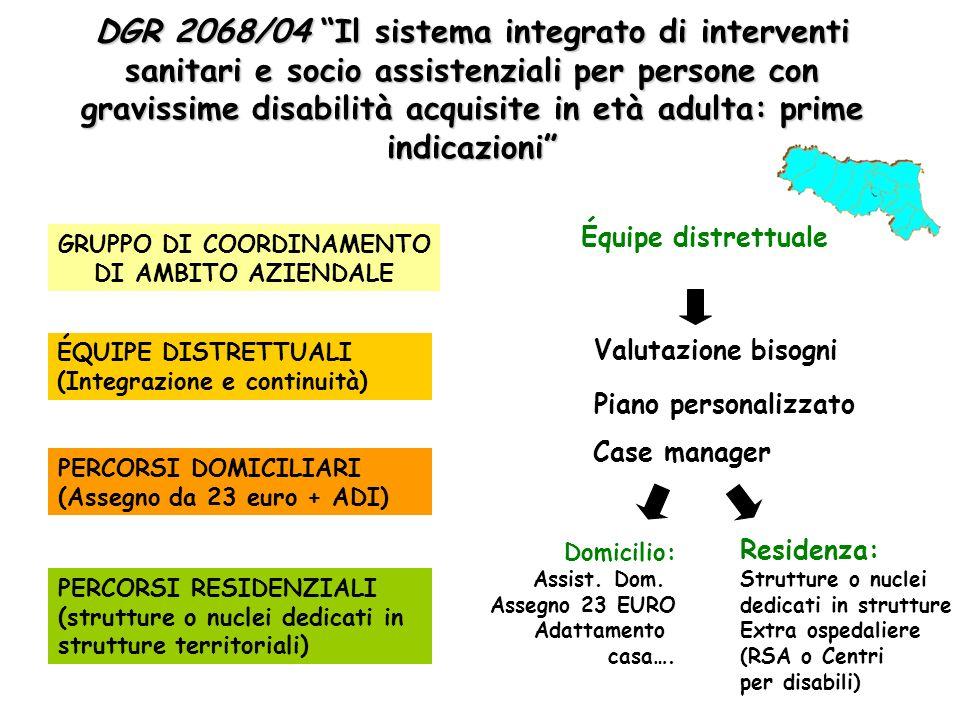 DGR 2068/04 Il sistema integrato di interventi sanitari e socio assistenziali per persone con gravissime disabilità acquisite in età adulta: prime ind