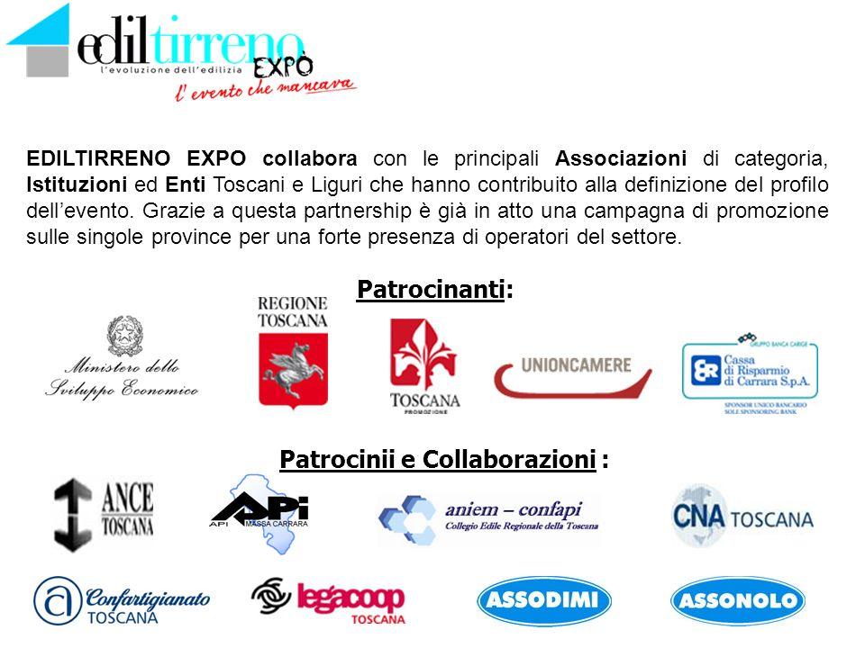 Patrocinanti: EDILTIRRENO EXPO collabora con le principali Associazioni di categoria, Istituzioni ed Enti Toscani e Liguri che hanno contribuito alla definizione del profilo dellevento.