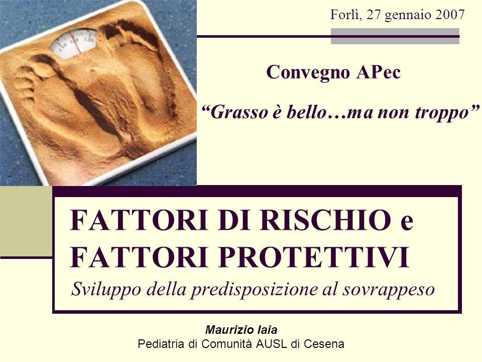 Maurizio Iaia Pediatria di Comunità AUSL di Cesena Sviluppo della predisposizione al sovrappeso Forlì, 27 gennaio 2007 Grasso è bello…ma non troppo FA