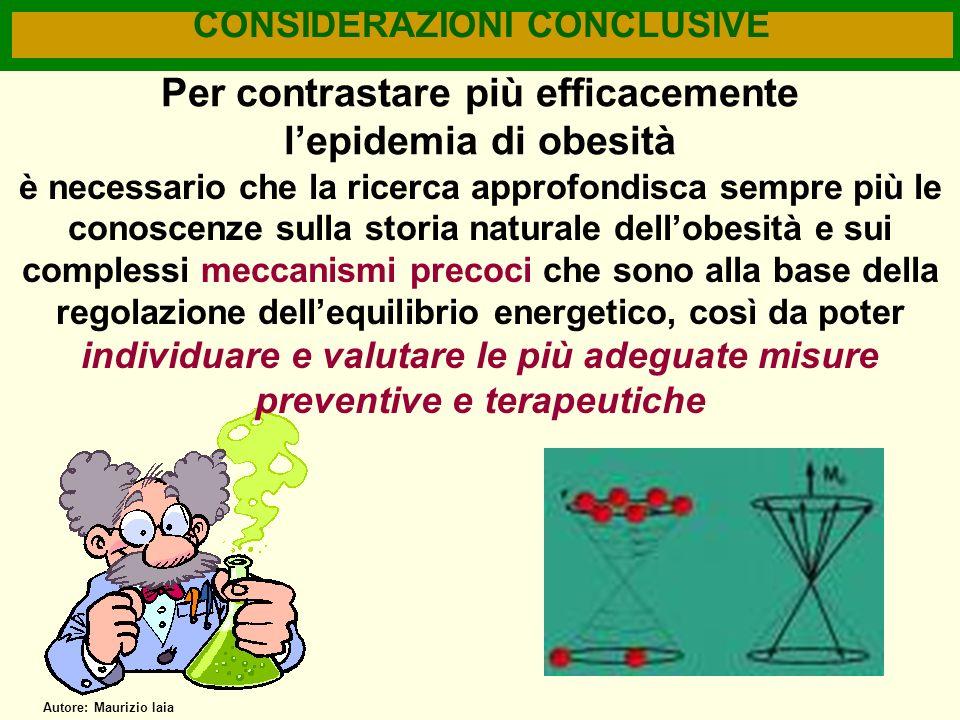 CONSIDERAZIONI CONCLUSIVE Per contrastare più efficacemente lepidemia di obesità è necessario che la ricerca approfondisca sempre più le conoscenze su