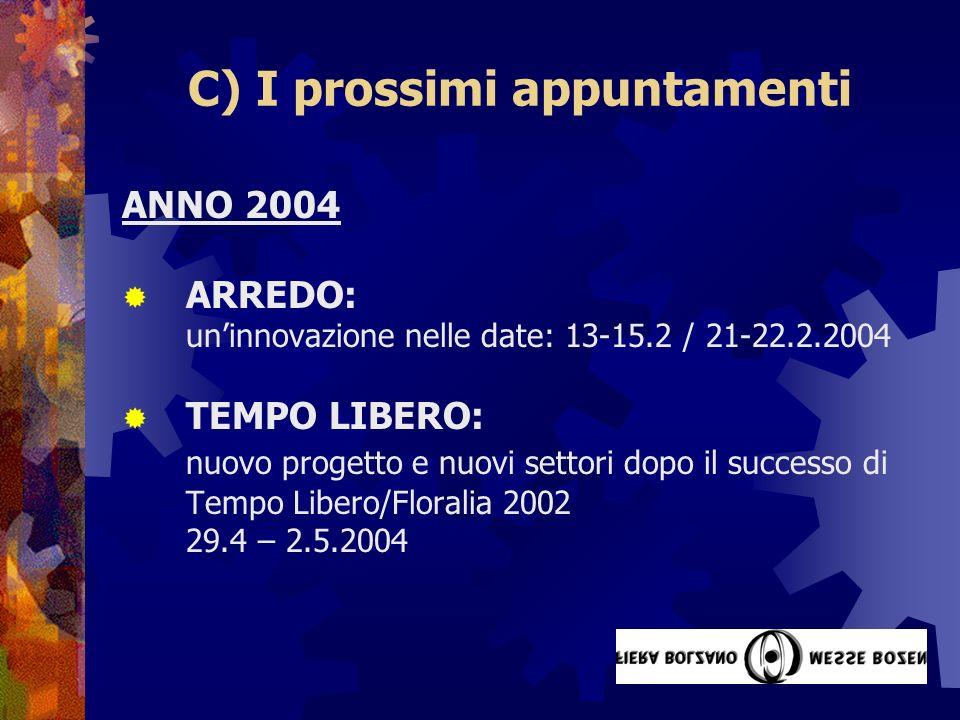 C) I prossimi appuntamenti ANNO 2004 ARREDO: uninnovazione nelle date: 13-15.2 / 21-22.2.2004 TEMPO LIBERO: nuovo progetto e nuovi settori dopo il successo di Tempo Libero/Floralia 2002 29.4 – 2.5.2004