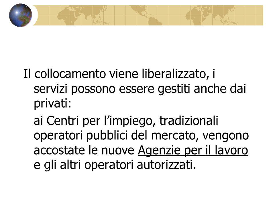 Il collocamento viene liberalizzato, i servizi possono essere gestiti anche dai privati: ai Centri per limpiego, tradizionali operatori pubblici del m