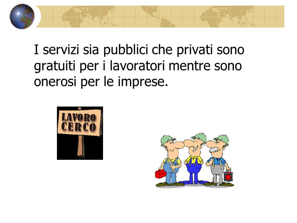 I servizi sia pubblici che privati sono gratuiti per i lavoratori mentre sono onerosi per le imprese.