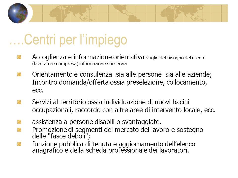 ….Centri per limpiego Accoglienza e informazione orientativa vaglio del bisogno del cliente (lavoratore o impresa) informazione sui servizi Orientamen