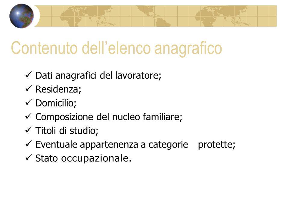 Contenuto dellelenco anagrafico Dati anagrafici del lavoratore; Residenza; Domicilio; Composizione del nucleo familiare; Titoli di studio; Eventuale a
