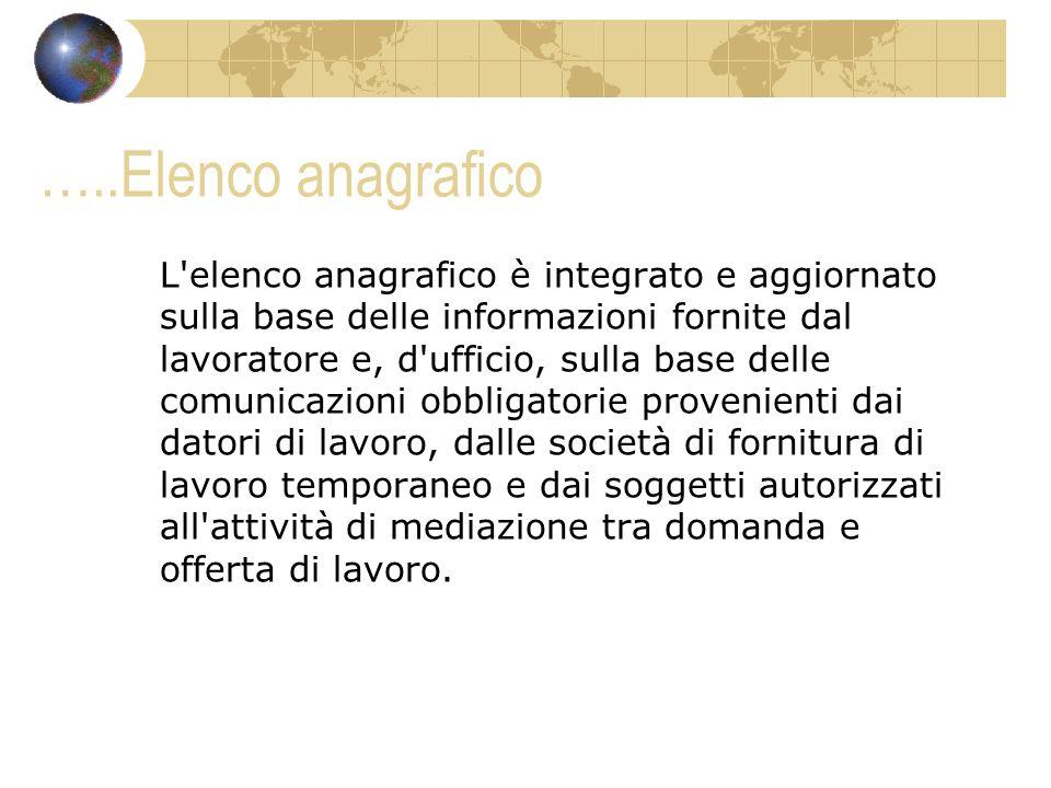 …..Elenco anagrafico L'elenco anagrafico è integrato e aggiornato sulla base delle informazioni fornite dal lavoratore e, d'ufficio, sulla base delle