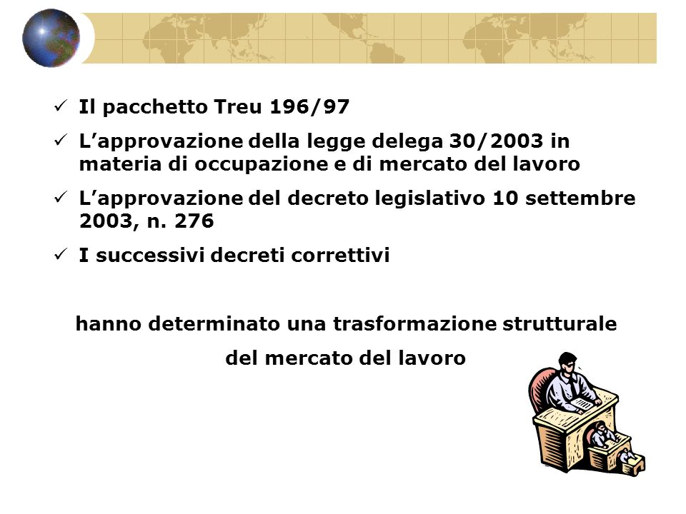 Il pacchetto Treu 196/97 Lapprovazione della legge delega 30/2003 in materia di occupazione e di mercato del lavoro Lapprovazione del decreto legislat