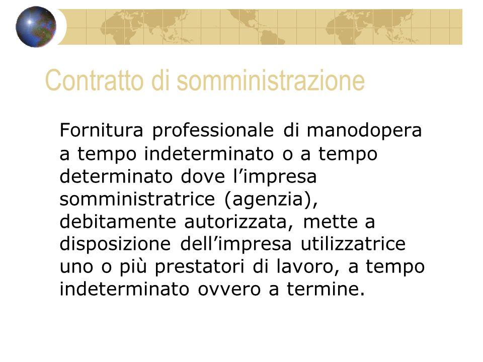 Contratto di somministrazione Fornitura professionale di manodopera a tempo indeterminato o a tempo determinato dove limpresa somministratrice (agenzi