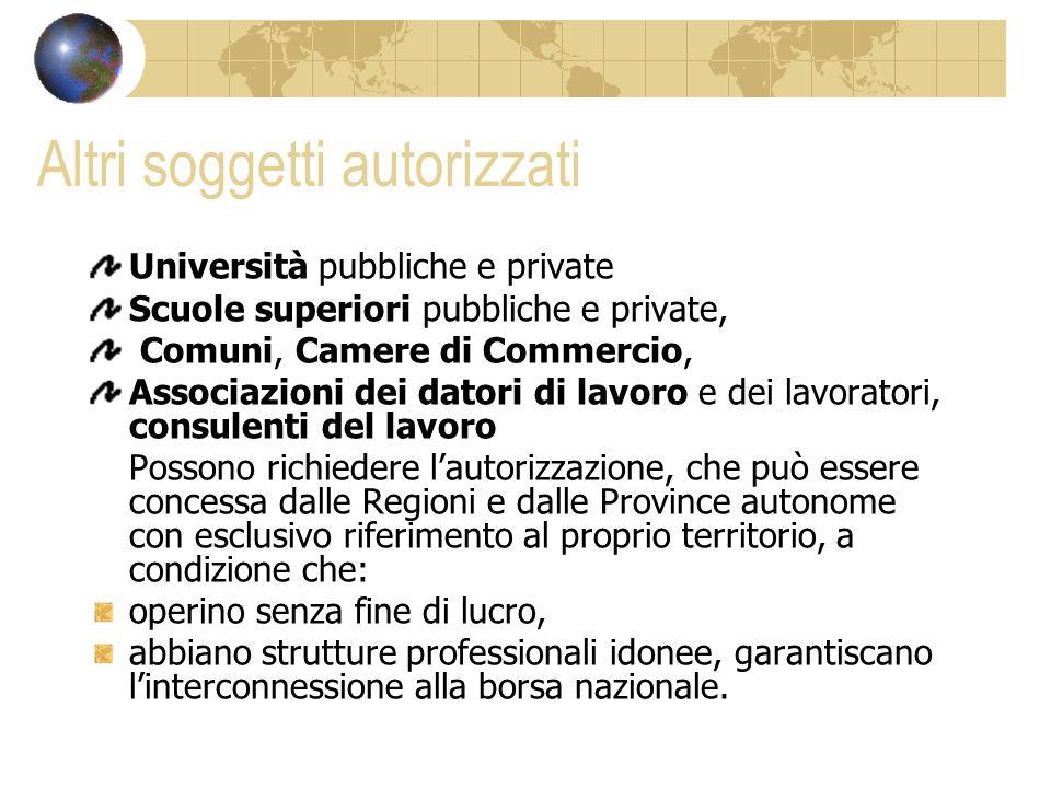 Altri soggetti autorizzati Università pubbliche e private Scuole superiori pubbliche e private, Comuni, Camere di Commercio, Associazioni dei datori d