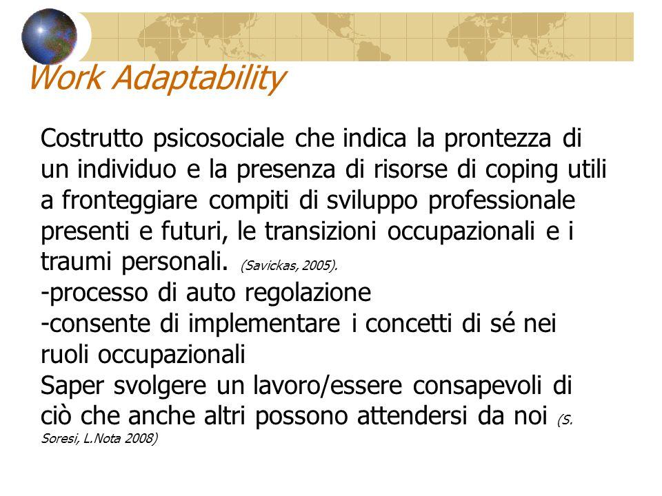Work Adaptability Costrutto psicosociale che indica la prontezza di un individuo e la presenza di risorse di coping utili a fronteggiare compiti di sv