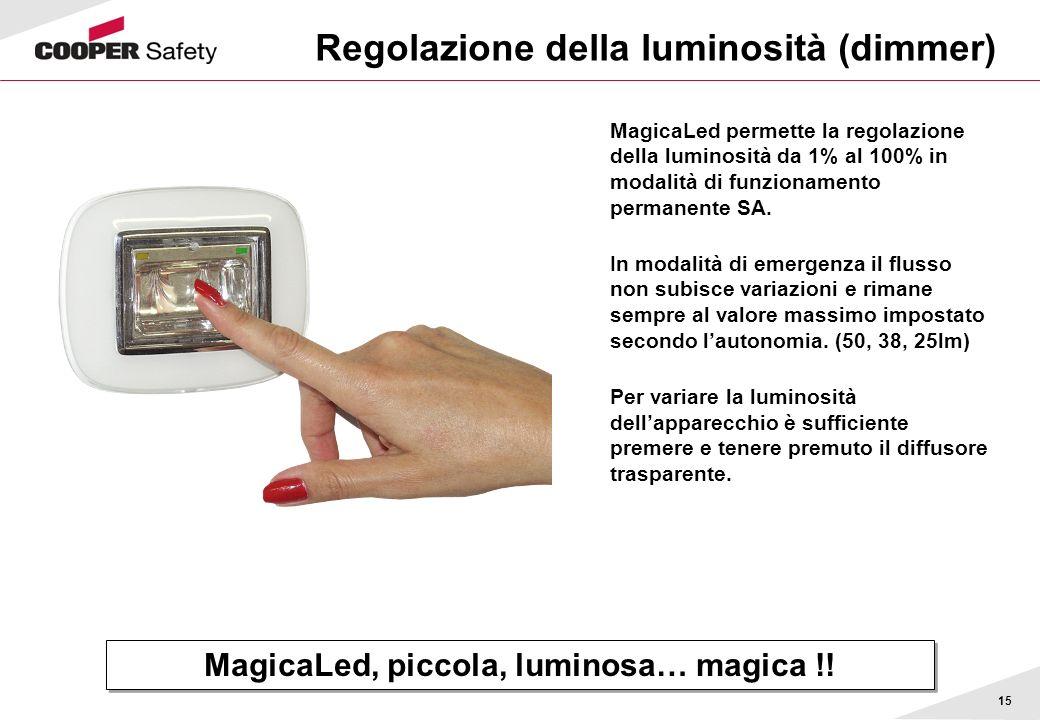 15 Regolazione della luminosità (dimmer) MagicaLed permette la regolazione della luminosità da 1% al 100% in modalità di funzionamento permanente SA.
