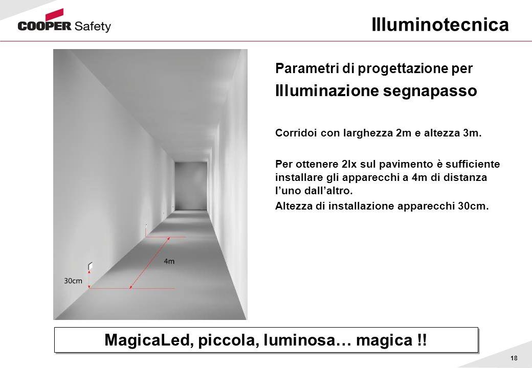 18 Illuminotecnica Parametri di progettazione per Illuminazione segnapasso Corridoi con larghezza 2m e altezza 3m. Per ottenere 2lx sul pavimento è su