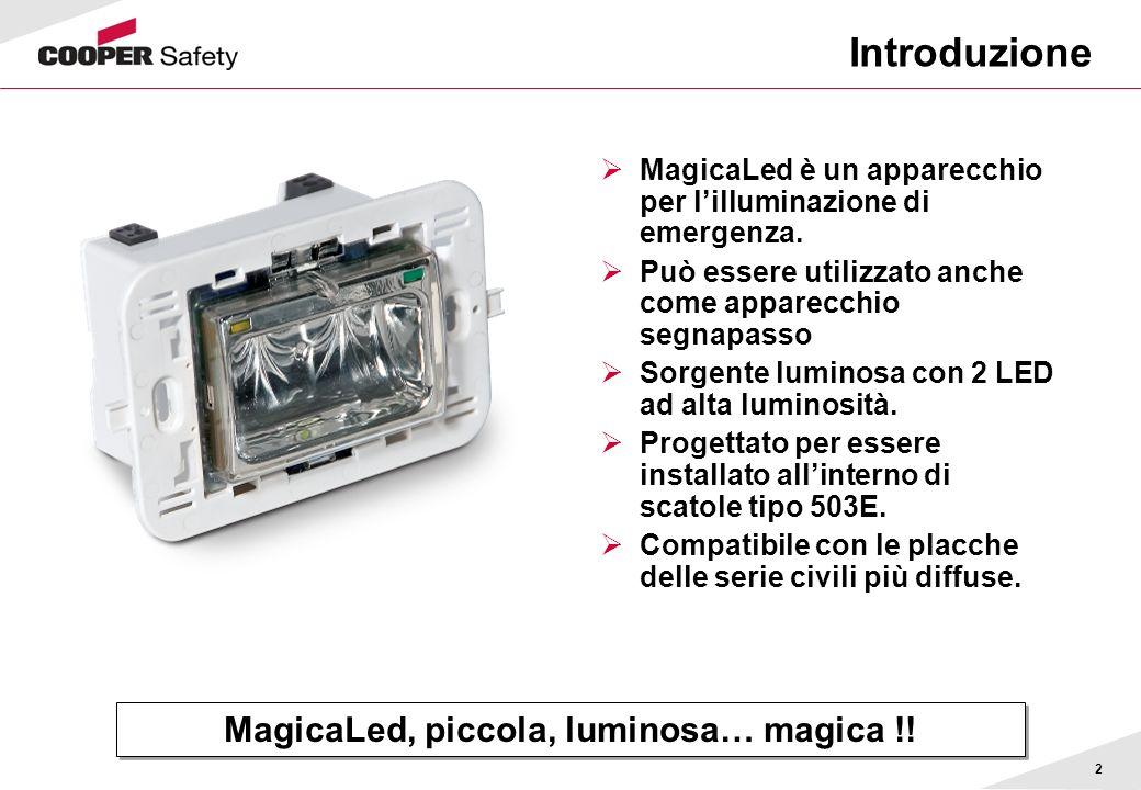 2 Introduzione MagicaLed è un apparecchio per lilluminazione di emergenza. Può essere utilizzato anche come apparecchio segnapasso Sorgente luminosa c