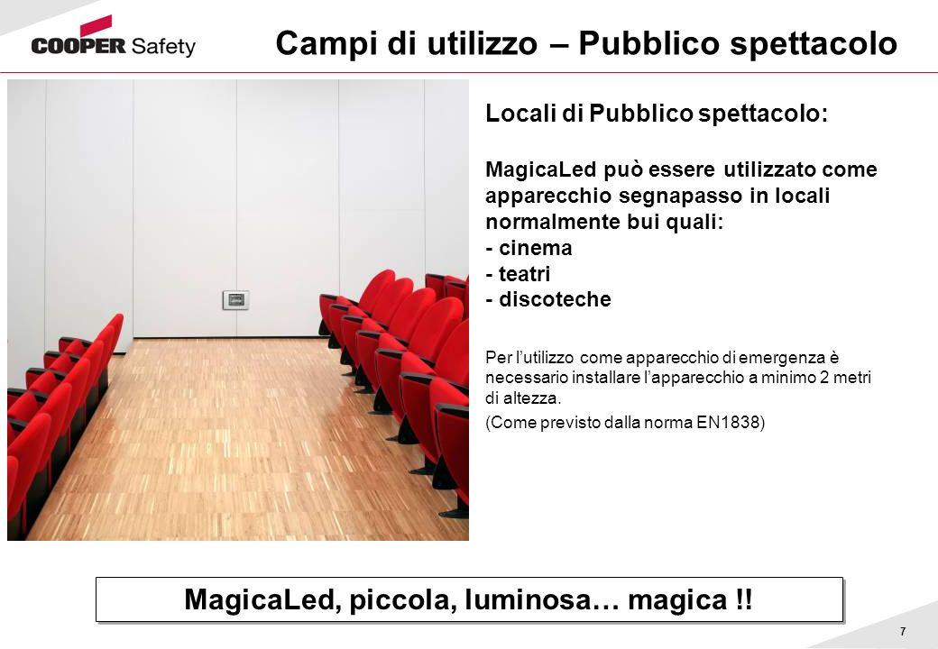 7 Campi di utilizzo – Pubblico spettacolo Locali di Pubblico spettacolo: MagicaLed può essere utilizzato come apparecchio segnapasso in locali normalm