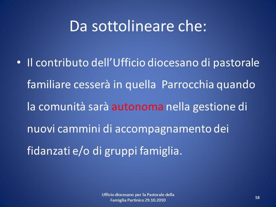 Da sottolineare che: Il contributo dellUfficio diocesano di pastorale familiare cesserà in quella Parrocchia quando la comunità sarà autonoma nella ge