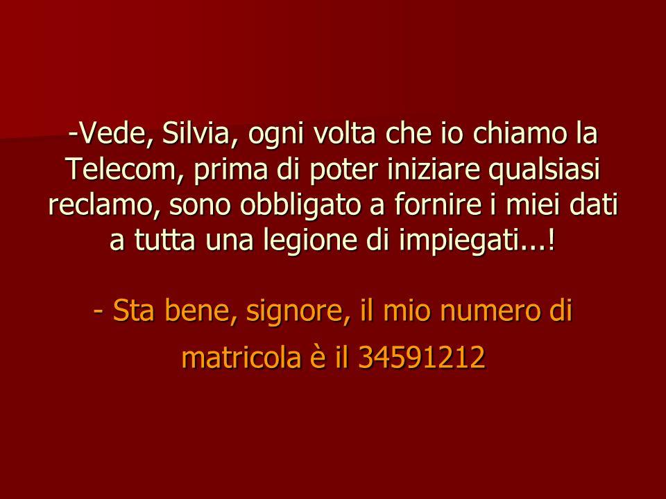 -Vede, Silvia, ogni volta che io chiamo la Telecom, prima di poter iniziare qualsiasi reclamo, sono obbligato a fornire i miei dati a tutta una legion
