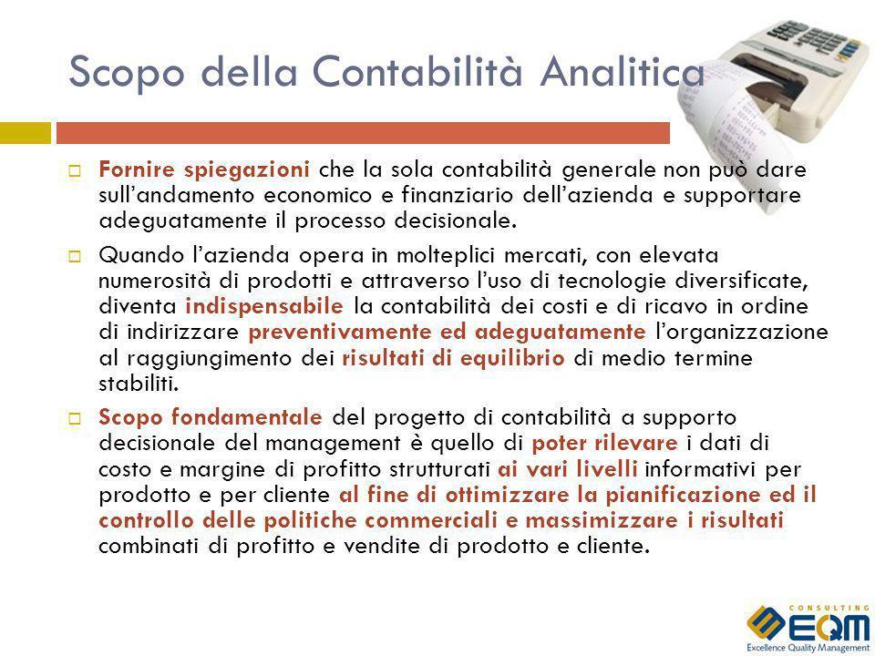 Scopo della Contabilità Analitica Fornire spiegazioni che la sola contabilità generale non può dare sullandamento economico e finanziario dellazienda e supportare adeguatamente il processo decisionale.