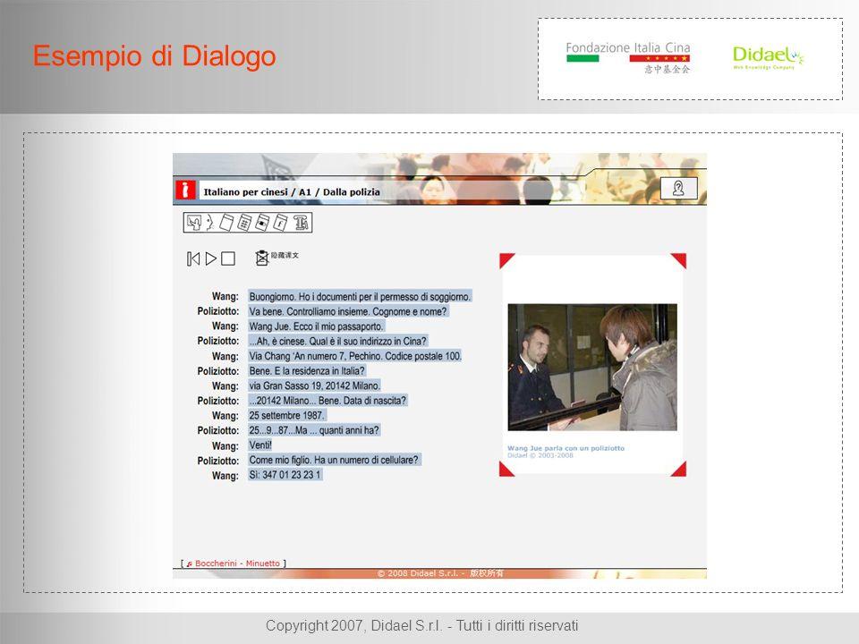 Copyright 2007, Didael S.r.l. - Tutti i diritti riservati Esempio di Dialogo