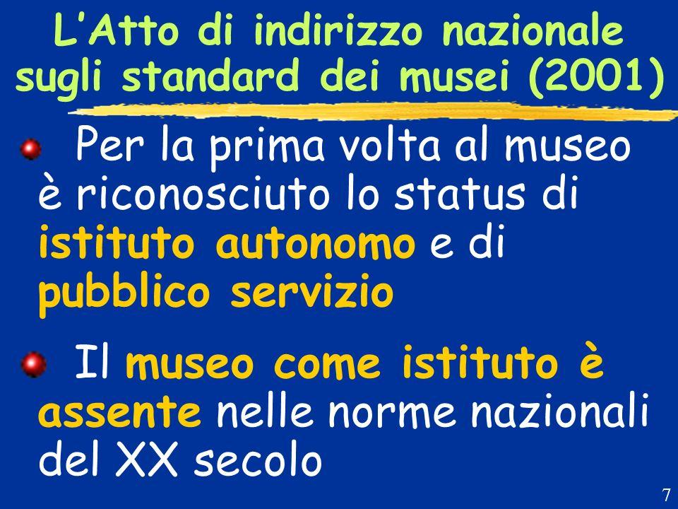 LAtto di indirizzo nazionale sugli standard dei musei (2001) Per la prima volta al museo è riconosciuto lo status di istituto autonomo e di pubblico servizio Il museo come istituto è assente nelle norme nazionali del XX secolo 7