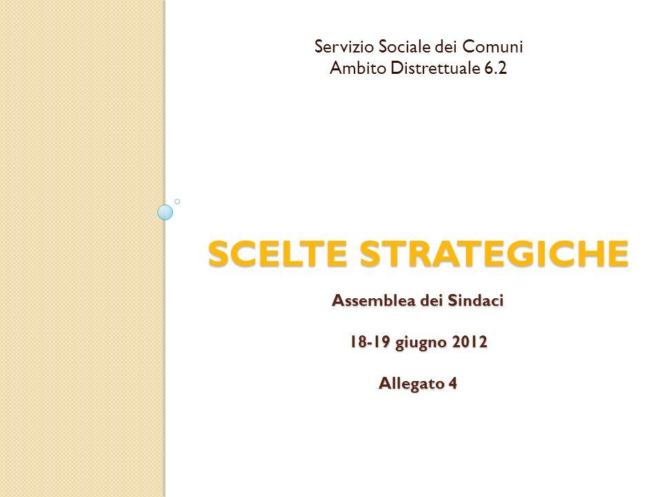 SCELTE STRATEGICHE Assemblea dei Sindaci 18-19 giugno 2012 Allegato 4 Servizio Sociale dei Comuni Ambito Distrettuale 6.2