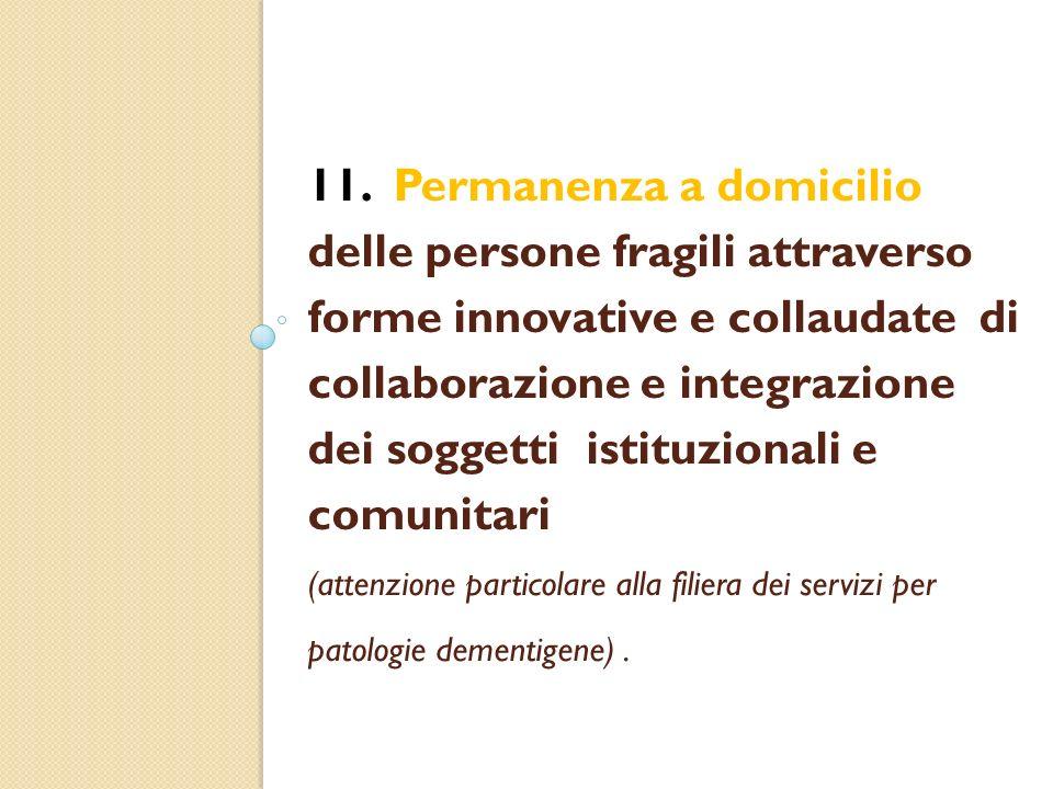 11. Permanenza a domicilio delle persone fragili attraverso forme innovative e collaudate di collaborazione e integrazione dei soggetti istituzionali