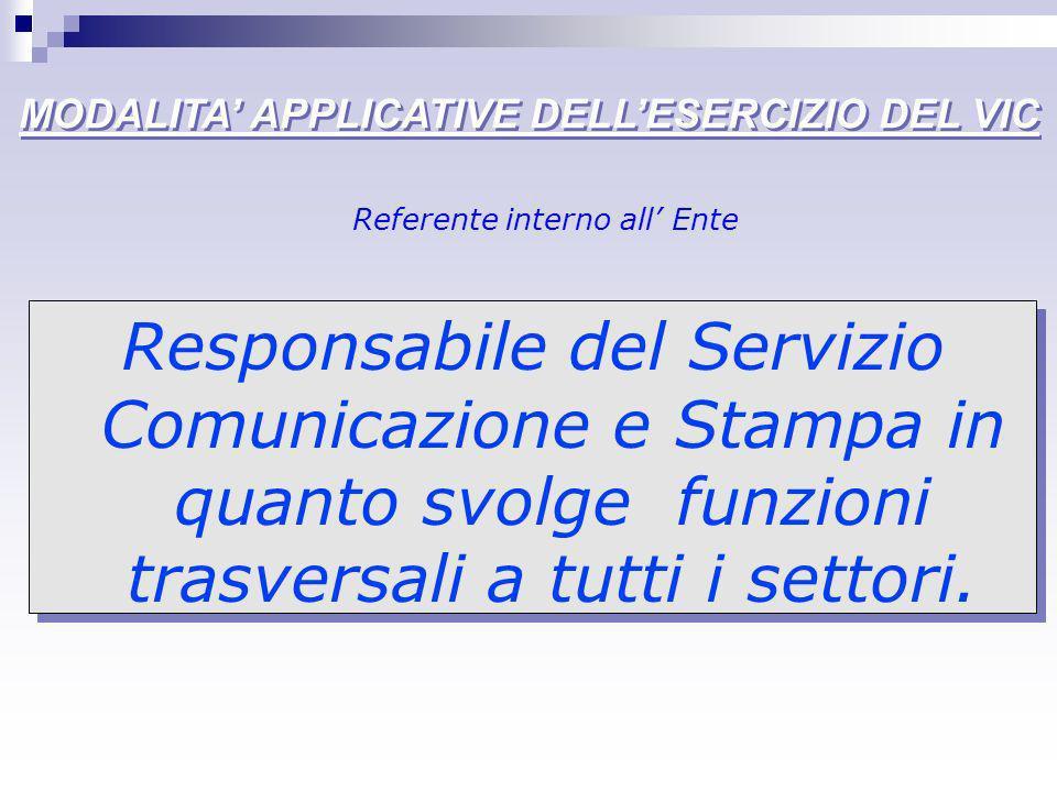 MODALITA APPLICATIVE DELLESERCIZIO DEL VIC Responsabile servizio comunicazione e stampa per larea della comunicazione, NUOVE TECNOLOGIE Responsabile risorse umane per il sistema premiante, formazione qualità del personale, PIANIFICAZIONE, CONTROLLI, VALUTAZIONE Responsabile servizio comunicazione e stampa per larea della comunicazione, NUOVE TECNOLOGIE Responsabile risorse umane per il sistema premiante, formazione qualità del personale, PIANIFICAZIONE, CONTROLLI, VALUTAZIONE Referenti per aree tematiche del VIC