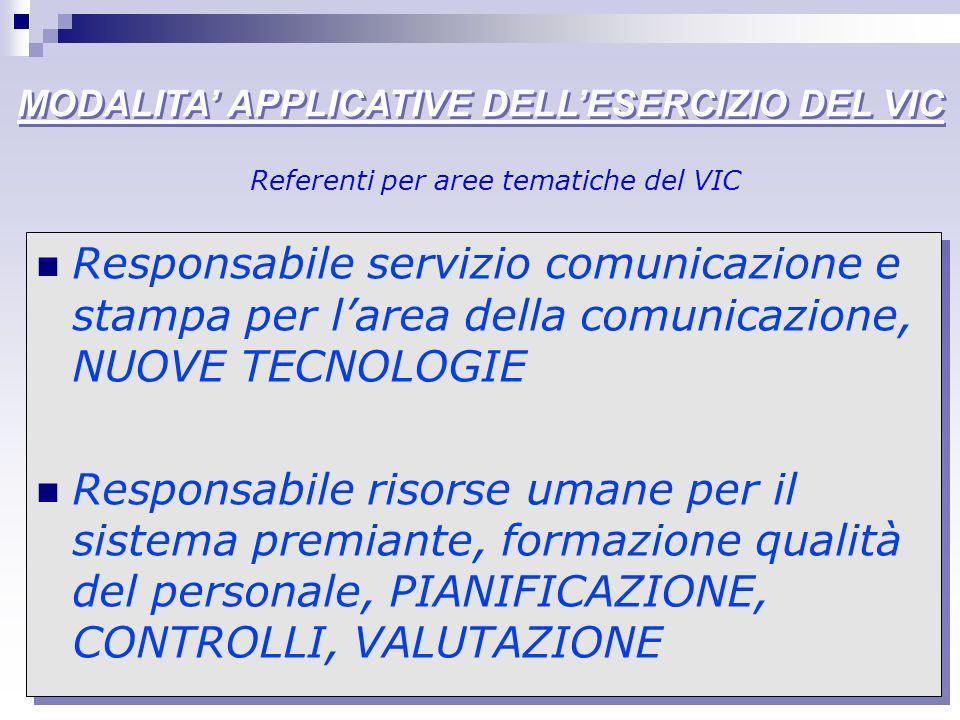 MODALITA APPLICATIVE DELLESERCIZIO DEL VIC Responsabile servizio comunicazione e stampa per larea della comunicazione, NUOVE TECNOLOGIE Responsabile r