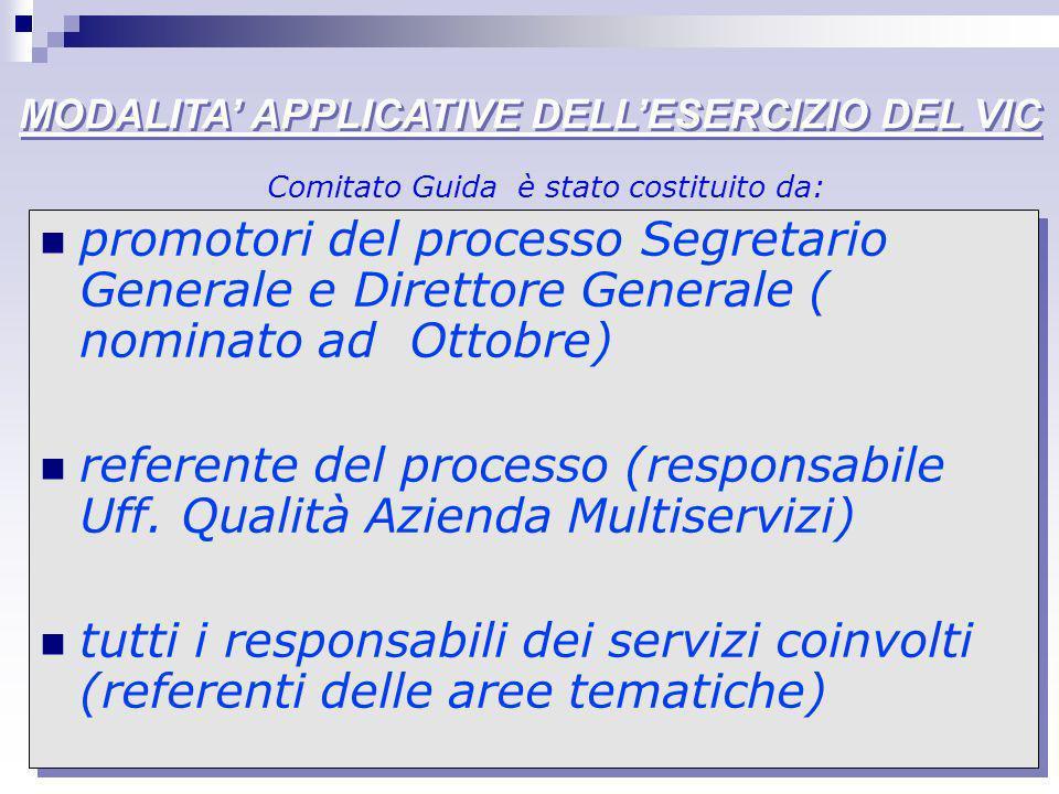 MODALITA APPLICATIVE DELLESERCIZIO DEL VIC promotori del processo Segretario Generale e Direttore Generale ( nominato ad Ottobre) referente del proces