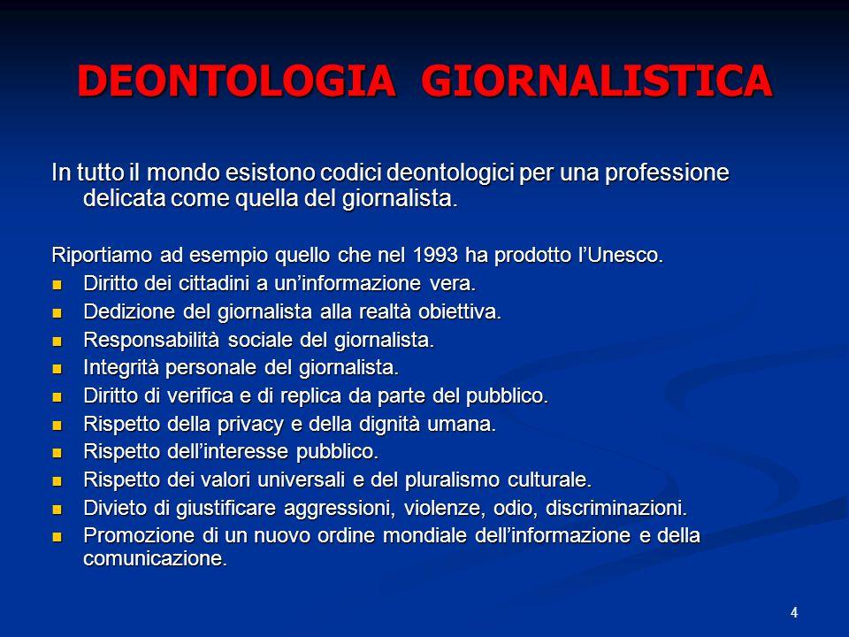 4 DEONTOLOGIA GIORNALISTICA In tutto il mondo esistono codici deontologici per una professione delicata come quella del giornalista. Riportiamo ad ese
