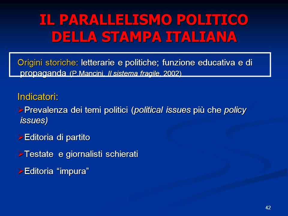 42 IL PARALLELISMO POLITICO DELLA STAMPA ITALIANA Origini storiche: letterarie e politiche; funzione educativa e di propaganda (P.Mancini, Il sistema