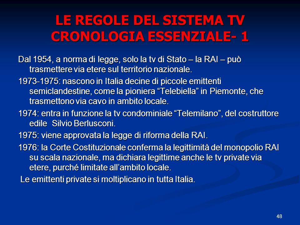 48 LE REGOLE DEL SISTEMA TV CRONOLOGIA ESSENZIALE- 1 Dal 1954, a norma di legge, solo la tv di Stato – la RAI – può trasmettere via etere sul territorio nazionale.