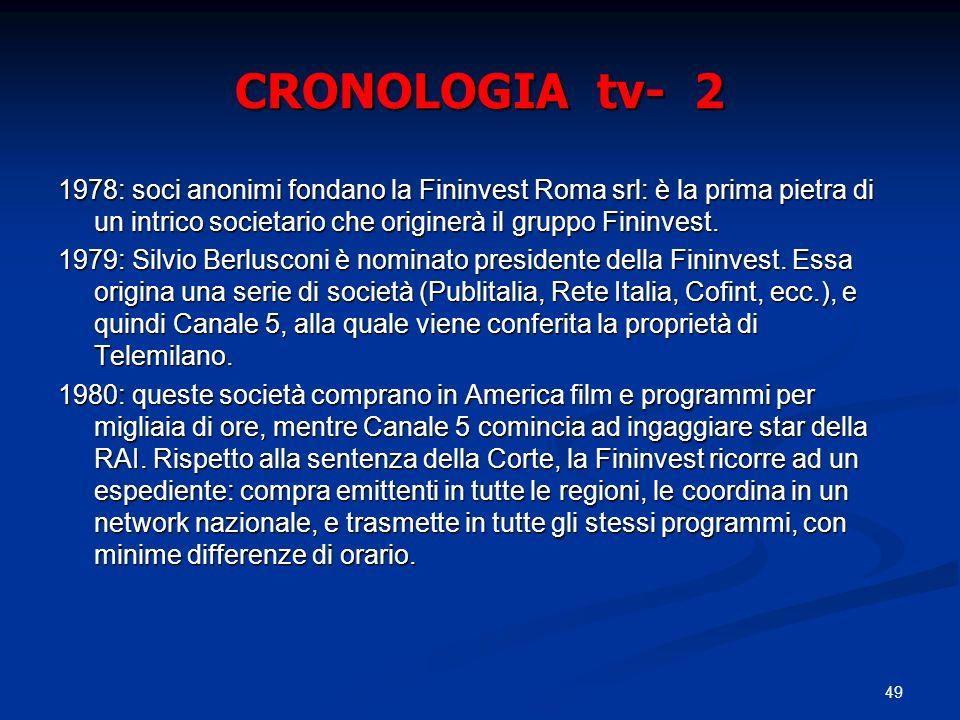 49 CRONOLOGIA tv- 2 1978: soci anonimi fondano la Fininvest Roma srl: è la prima pietra di un intrico societario che originerà il gruppo Fininvest.