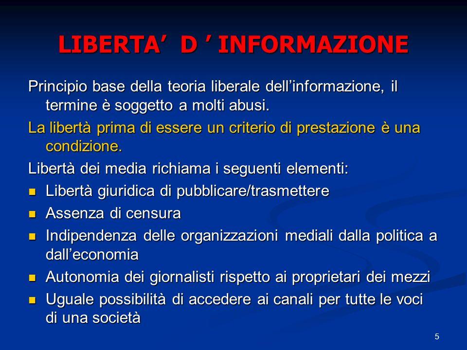 5 LIBERTA D INFORMAZIONE Principio base della teoria liberale dellinformazione, il termine è soggetto a molti abusi. La libertà prima di essere un cri