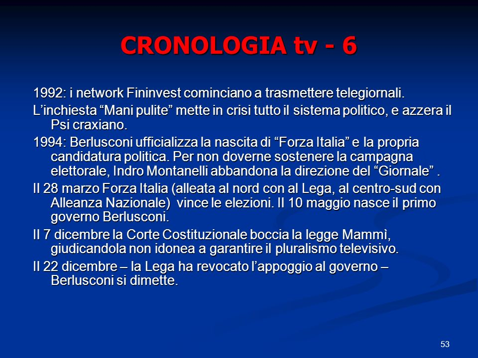 53 CRONOLOGIA tv - 6 1992: i network Fininvest cominciano a trasmettere telegiornali. Linchiesta Mani pulite mette in crisi tutto il sistema politico,