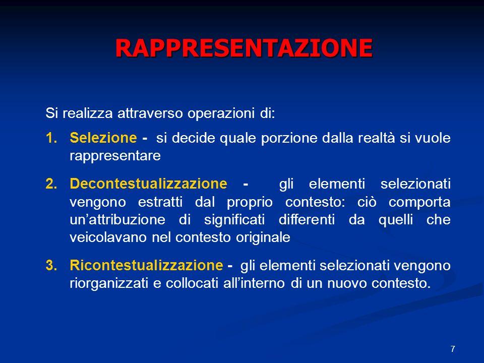 7 RAPPRESENTAZIONE Si realizza attraverso operazioni di: 1.Selezione - si decide quale porzione dalla realtà si vuole rappresentare 2.Decontestualizza