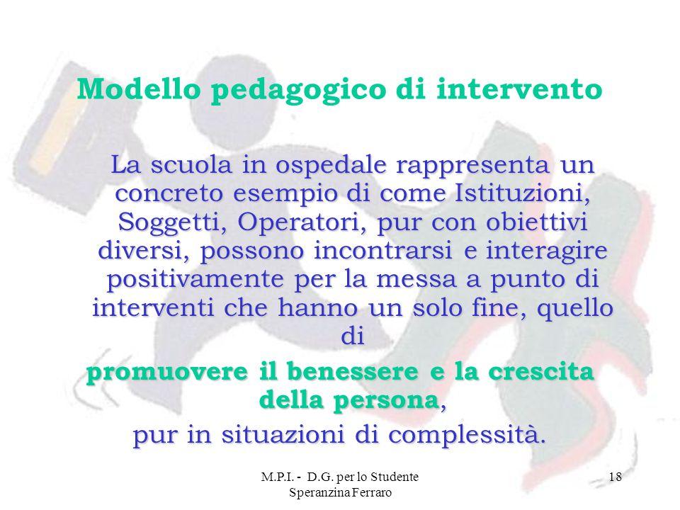M.P.I. - D.G. per lo Studente Speranzina Ferraro 18 Modello pedagogico di intervento La scuola in ospedale rappresenta un concreto esempio di come Ist
