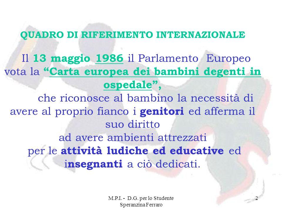 M.P.I. - D.G. per lo Studente Speranzina Ferraro 2 QUADRO DI RIFERIMENTO INTERNAZIONALE Il 13 maggio 1986 il Parlamento Europeo vota la Carta europea