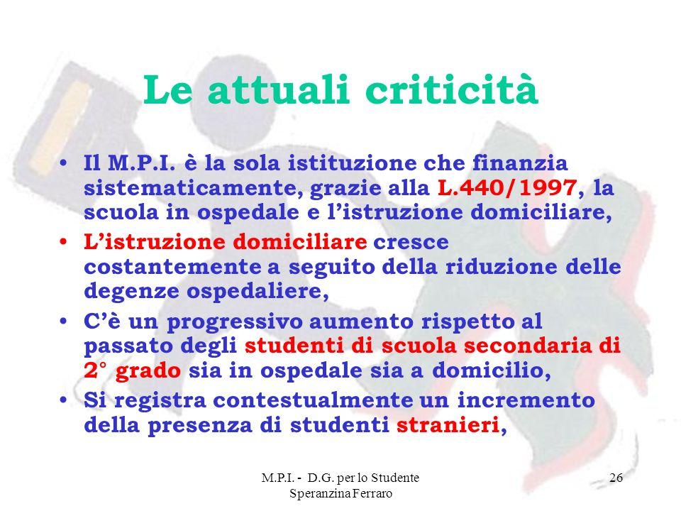 M.P.I. - D.G. per lo Studente Speranzina Ferraro 26 Le attuali criticità Il M.P.I. è la sola istituzione che finanzia sistematicamente, grazie alla L.