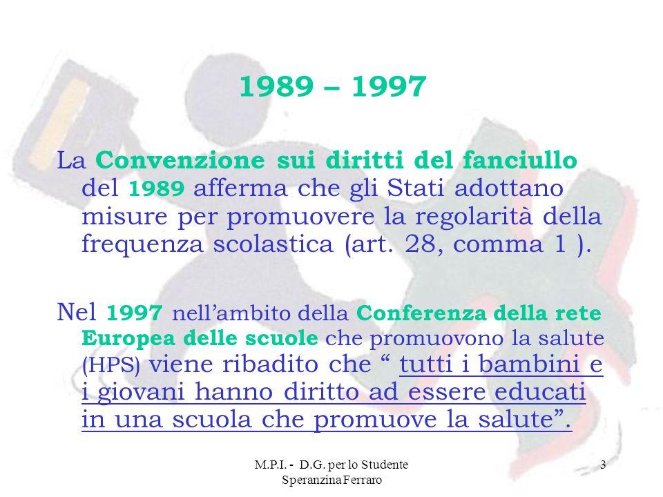 M.P.I. - D.G. per lo Studente Speranzina Ferraro 3 1989 – 1997 La Convenzione sui diritti del fanciullo del 1989 afferma che gli Stati adottano misure