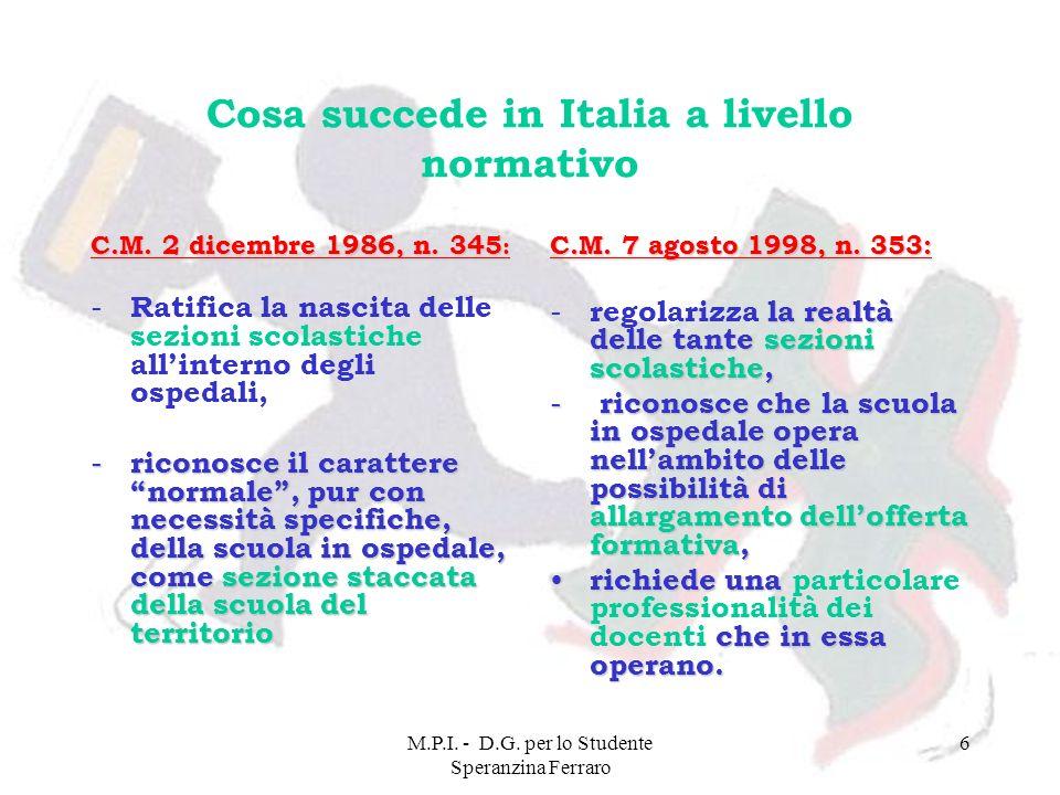 M.P.I. - D.G. per lo Studente Speranzina Ferraro 6 Cosa succede in Italia a livello normativo C.M. 2 dicembre 1986, n. 345 : - Ratifica la nascita del