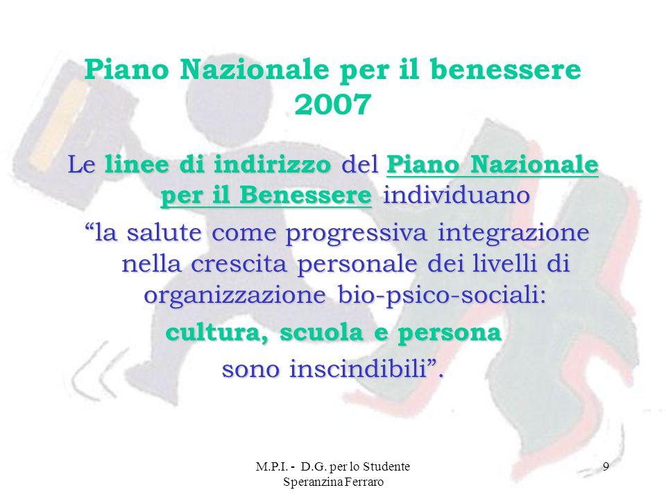 M.P.I. - D.G. per lo Studente Speranzina Ferraro 9 Piano Nazionale per il benessere 2007 Le linee di indirizzo del Piano Nazionale per il Benessere in