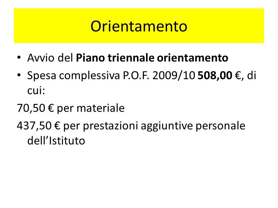 Orientamento Avvio del Piano triennale orientamento Spesa complessiva P.O.F. 2009/10 508,00, di cui: 70,50 per materiale 437,50 per prestazioni aggiun