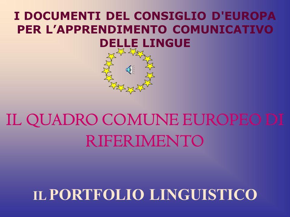 I DOCUMENTI DEL CONSIGLIO D EUROPA PER LAPPRENDIMENTO COMUNICATIVO DELLE LINGUE IL QUADRO COMUNE EUROPEO DI RIFERIMENTO IL PORTFOLIO LINGUISTICO