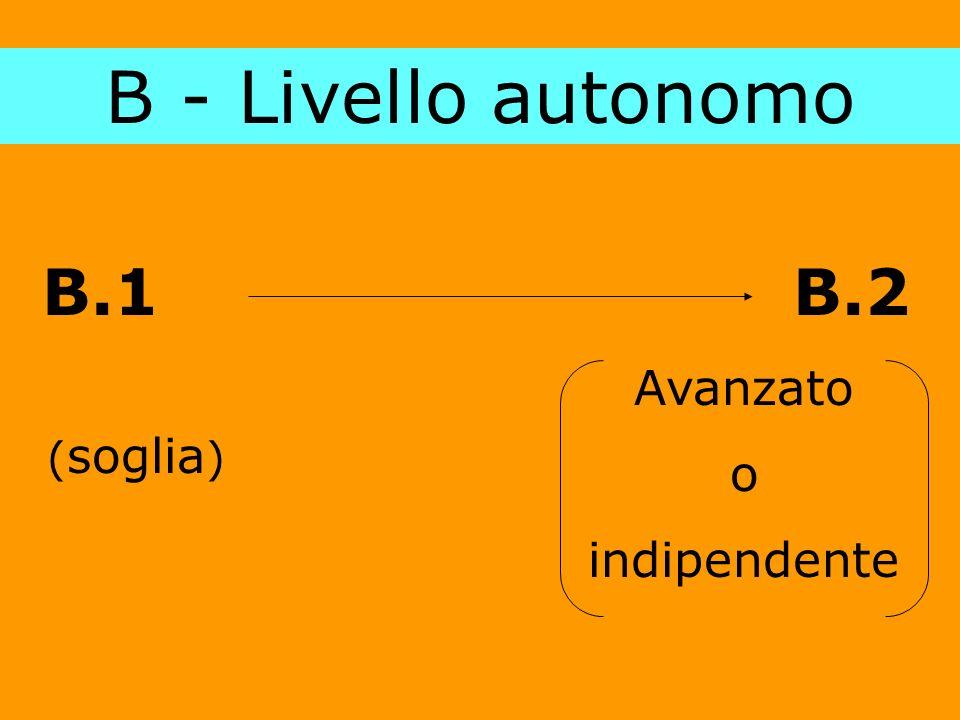 B - Livello autonomo B.1 B.2 ( soglia ) Avanzato o indipendente