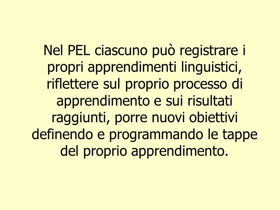Nel PEL ciascuno può registrare i propri apprendimenti linguistici, riflettere sul proprio processo di apprendimento e sui risultati raggiunti, porre nuovi obiettivi definendo e programmando le tappe del proprio apprendimento.