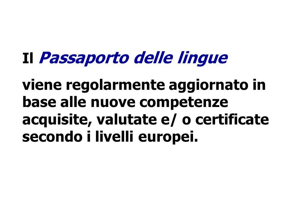Il Passaporto delle lingue viene regolarmente aggiornato in base alle nuove competenze acquisite, valutate e/ o certificate secondo i livelli europei.