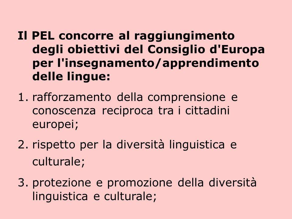 Il PEL concorre al raggiungimento degli obiettivi del Consiglio d Europa per l insegnamento/apprendimento delle lingue: 1.rafforzamento della comprensione e conoscenza reciproca tra i cittadini europei; 2.rispetto per la diversità linguistica e culturale; 3.protezione e promozione della diversità linguistica e culturale;
