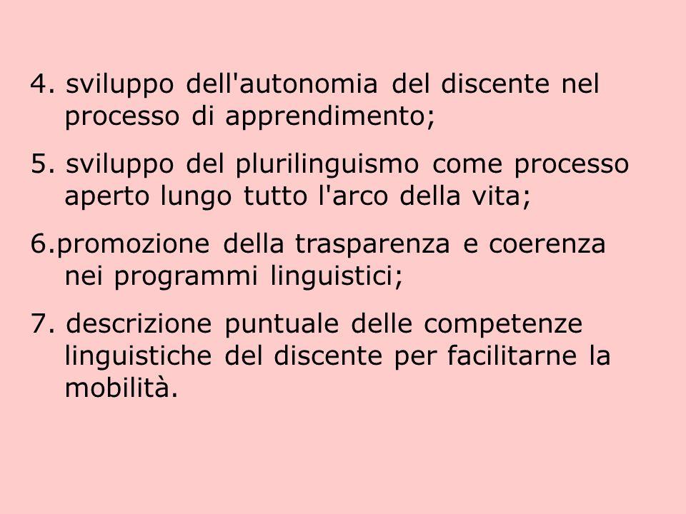 4.sviluppo dell autonomia del discente nel processo di apprendimento; 5.