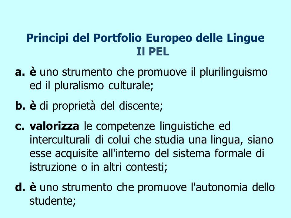 Principi del Portfolio Europeo delle Lingue Il PEL a.è uno strumento che promuove il plurilinguismo ed il pluralismo culturale; b.è di proprietà del discente; c.valorizza le competenze linguistiche ed interculturali di colui che studia una lingua, siano esse acquisite all interno del sistema formale di istruzione o in altri contesti; d.è uno strumento che promuove l autonomia dello studente;