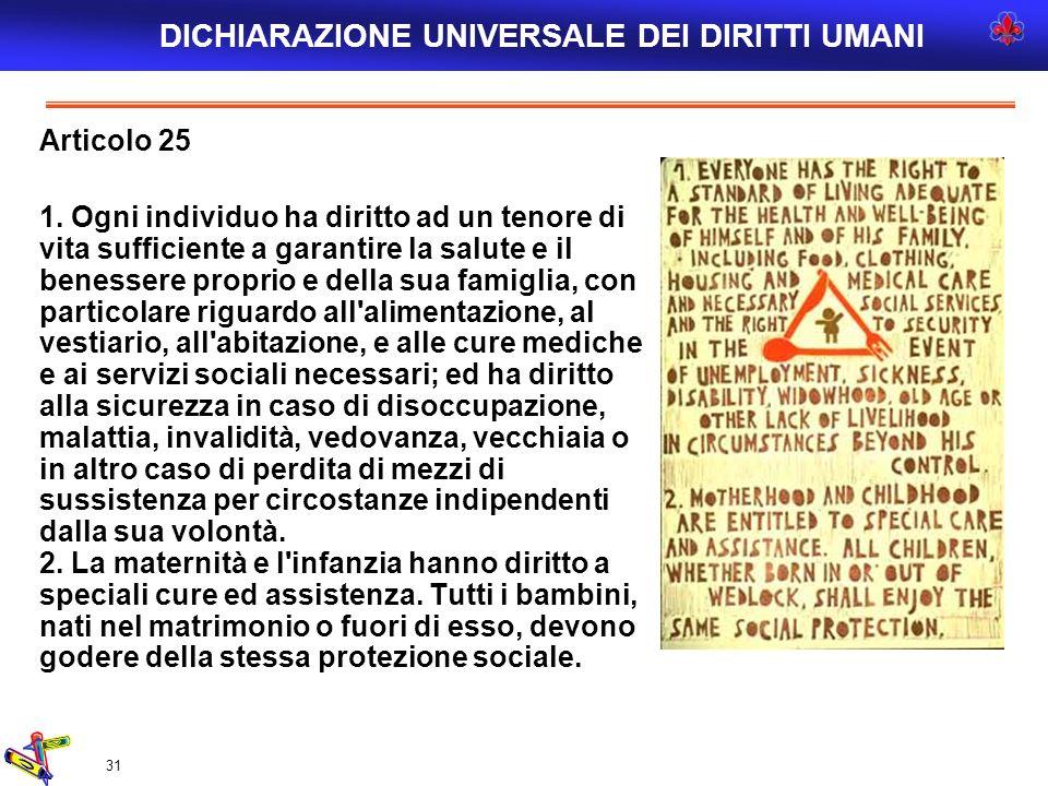 31 Articolo 25 1. Ogni individuo ha diritto ad un tenore di vita sufficiente a garantire la salute e il benessere proprio e della sua famiglia, con pa
